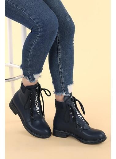 Ayakland Ayakland N901-04 Cilt Termo Taban Kadın Bot Ayakkabı Lacivert